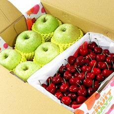 【鲜果日志】平安礼赞樱桃礼盒(日本王林苹果6入+智利樱桃2.5台斤)