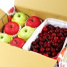 【鲜果日志】双星报喜苹果樱桃礼盒(富士3入+王林3入+智利樱桃2.5台斤)
