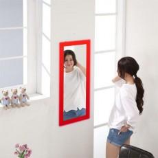 松木 壁掛鏡35x60cm 紅色