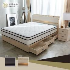 【藤原傢俬】6抽床底兩件式房間組(2層收納床頭+6分6抽床底)G1037