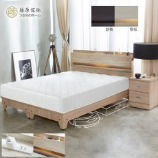 【藤原傢俬】民宿風四件式房間組(收納床頭+床墊+二抽櫃+加高床底)G022