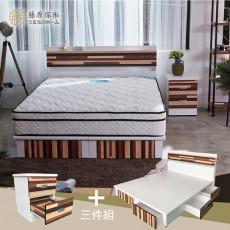 【藤原傢俬】白色森林三件式房間組5尺雙人(2層收納床頭+6抽床底6分板+2抽櫃)G1018
