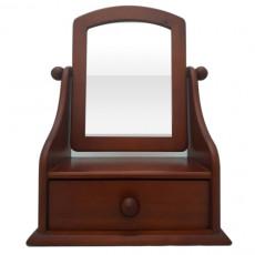 松木 桌上鏡附一屜25x32cm 棕色/原木色(隨機不挑色)