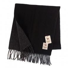 【GinzaU】雙色喀什米爾羊毛流蘇圍巾(黑灰/卡其色)359999-3
