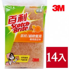 【3M】百利茶杯/細緻餐具專用菜瓜布 2片裝X14入